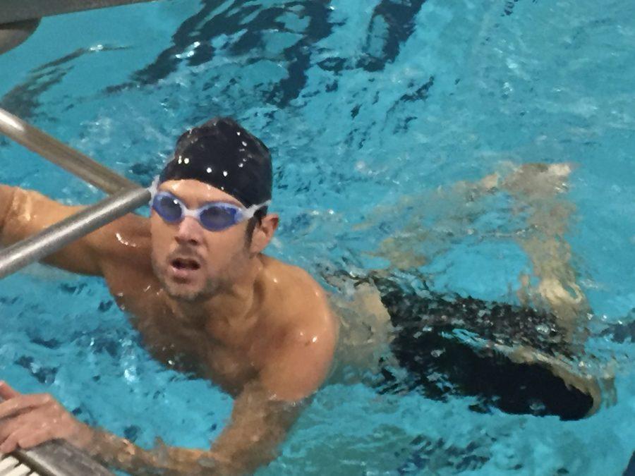 Swimmer preparing to perfect a trudgen.