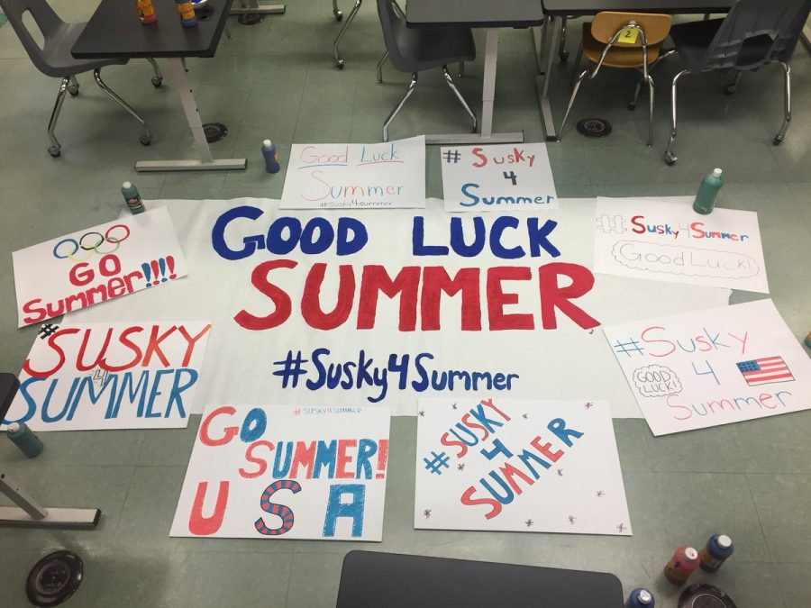Susquehannock%27s+Student+Council+created+the+hashtag+%23susky4summer+and+good+luck+posters+for+Olympian+Summer+Britcher%2C+a+former+student+at+Susquehannock+who+is+competing+at+the+2018+Winter+Olympics.+Photo+by%3A++%40_erinsophia_+on+twitter