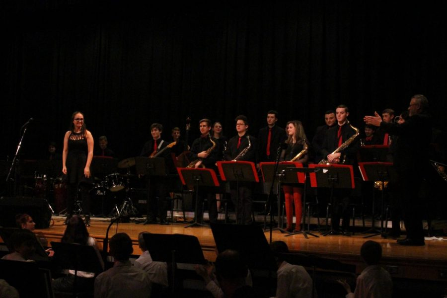 The Susquehannock High School Jazz Band stands up for their applause from the audience.