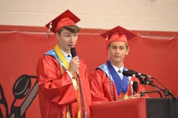 Valedictorian, Eric Younkin, and Salutatorian, Adam Rebich, deliver their joint speech.