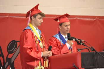 Valedictorian, Eric Younkin, and Salutatorian, Adam Rebich, team up to deliver a joint speech to the graduating class for the first time in District history.