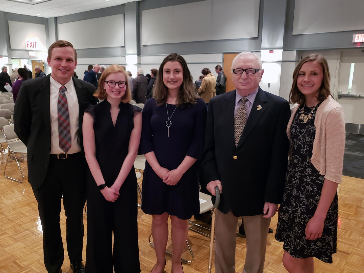 From left, Susquehannock English teacher Tim Groth, Alexandra Marusko, Andrea Hebel, Holocaust Surivivor Howard Kaidanow, and Courtney Burgess.