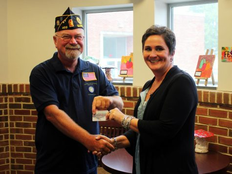 Featured in the photo are, from left, American Legion Austin L. Grove Post 403 Past Post Commander Randall Rill and Southern York County School District Social Services Coordinator Jill Platts.