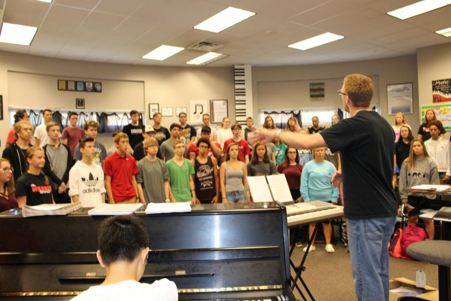 The choir rehearses diligently to prepare for their fourth Night of Broadway performance. The concert will take place on October 4 at 7 p.m. at Shrewsbury Elementary. There will be food available to purchase and silent auction items to bid on.