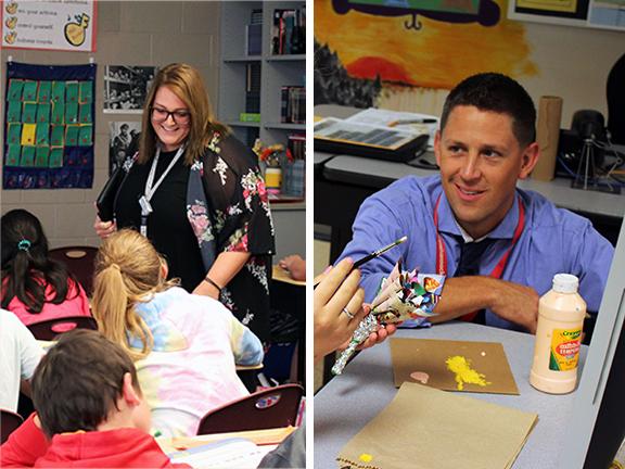 Friendship Elementary School 6th grade teacher Katie Lhotsky and Susquehannock High School art teacher Wade Bowers are Shippensburg Outstanding Teachers for 2018-19.