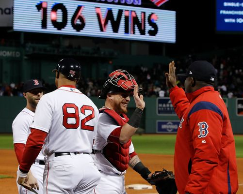 Red Sox exchanging high fives as they celebrate 106 wins.  via @USAToday