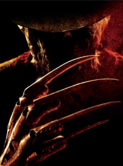 Another iconic photo from the movie poster featuring Freddy and his bladed hand.