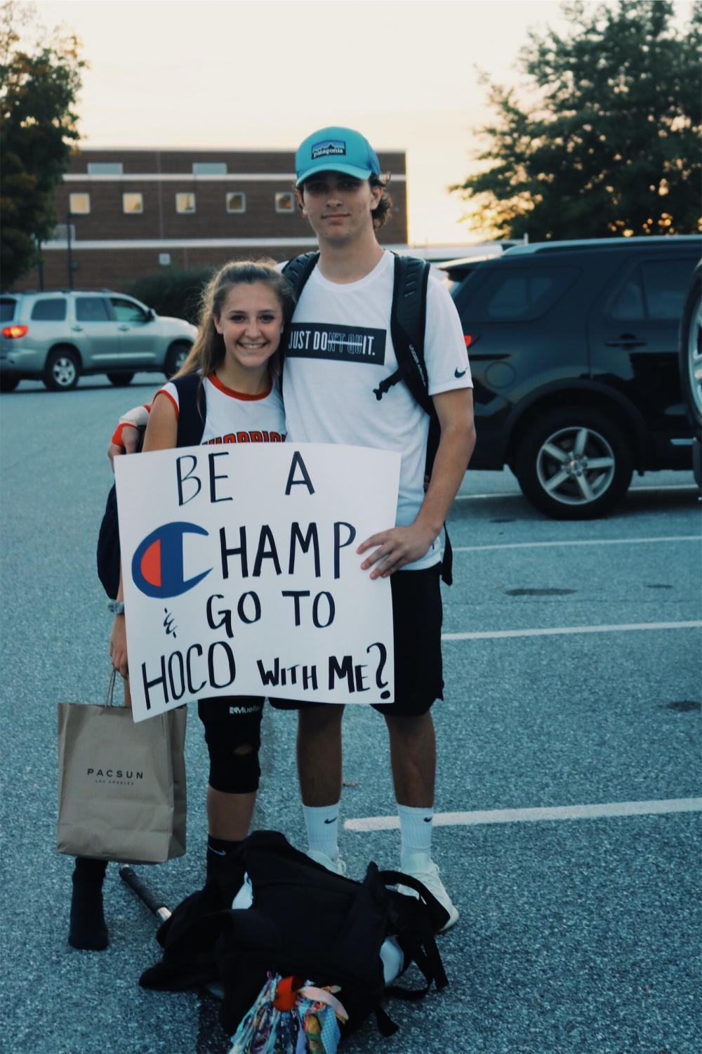 Freshman Kylie Vantassel was asked to homecoming by junior Cole Weigard with a Champion theme.