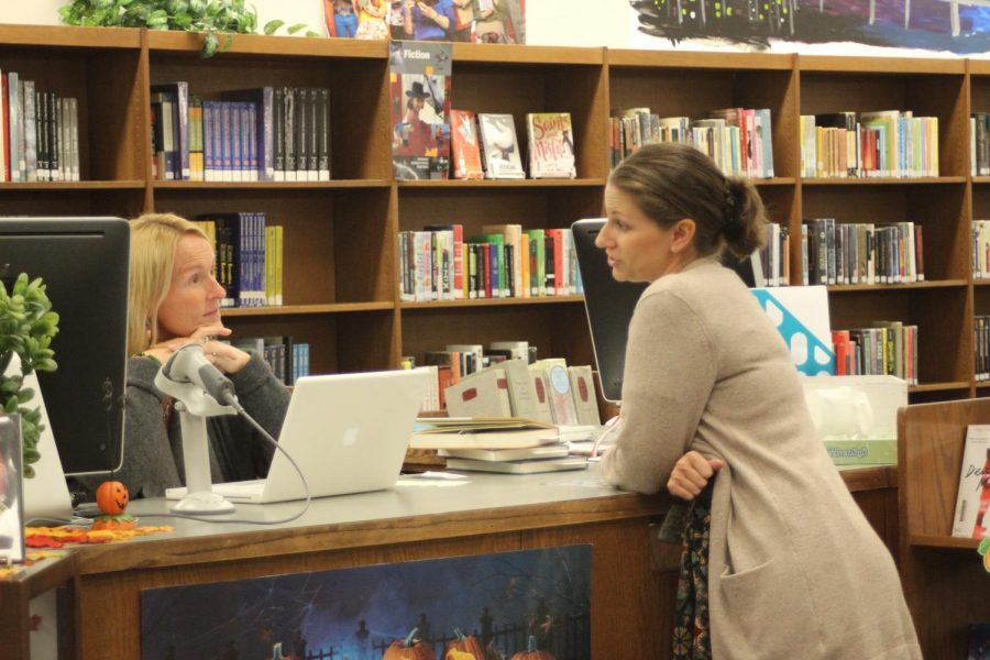 Our school librarian, Mrs. Kayse Corrieri, chats with Wilt during the day, and it's about all kinds of things, not just school.