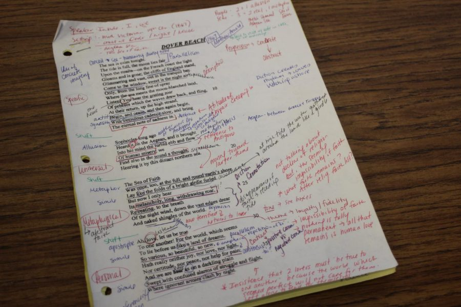 Wilt writes endless notes for her classes.  This is an annotated poem used in her AP English course.