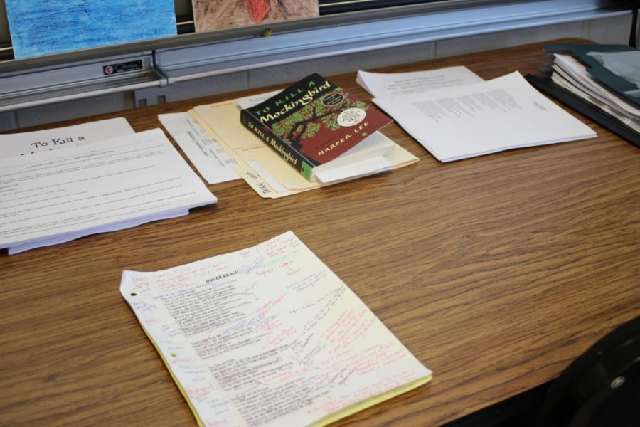 """Wilt's days are """"usually busy from the start"""" as she lays out her notes for both the courses she teaches.  She teaches tenth grade English as well as AP English for twelfth grade."""