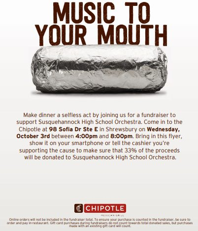 Orchestra Holds Fundraiser at Chipotle Tomorrow