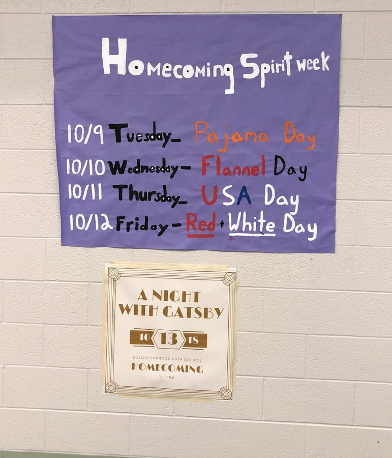 The spirit week for homecoming is set a week before the initial day for the first spirit day, this year Susky had PJ day, flannel day, U.S.A day, and red and white day. Photo by Abby Paterniti