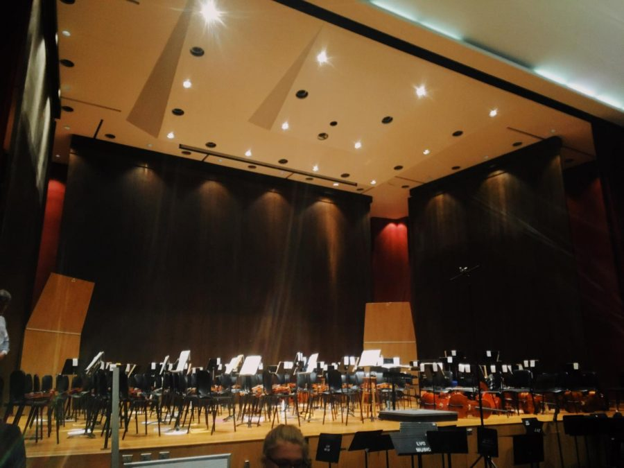 The stage that holds hundreds of students every year as part of the LVC Honors Orchestra festival inside of the Blair Music Center.