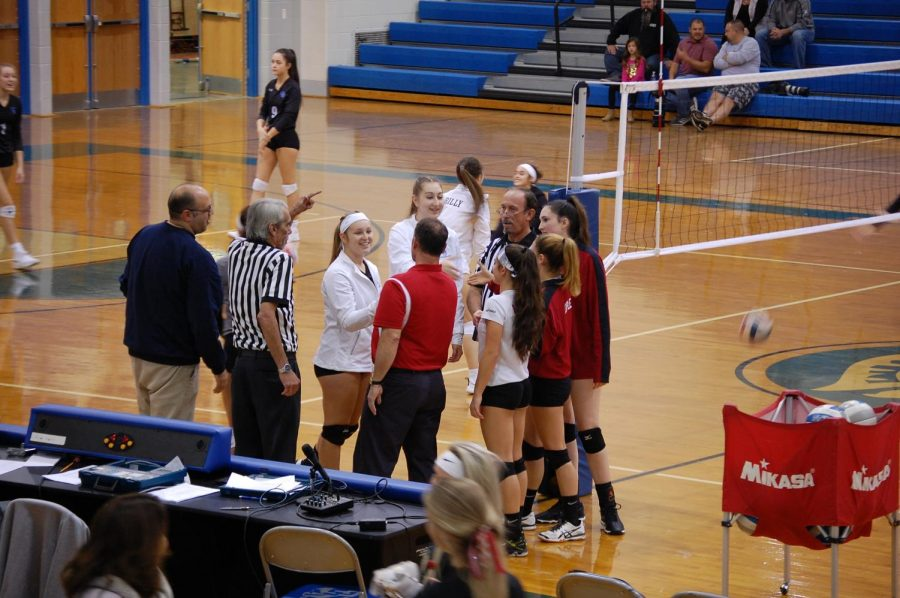 Senior+Captains+Nicole+Gianzanti%2C+Maddie+Geiple+and+Allie+Grothey+shake+hands+with+the+opposing+team+and+wish+them+good+luck.+This+was+their+final+match+in+the+season+against+Garden+Spot+in+the+first+round+of+Districts.+Photo+by+Mackenzie+Womack
