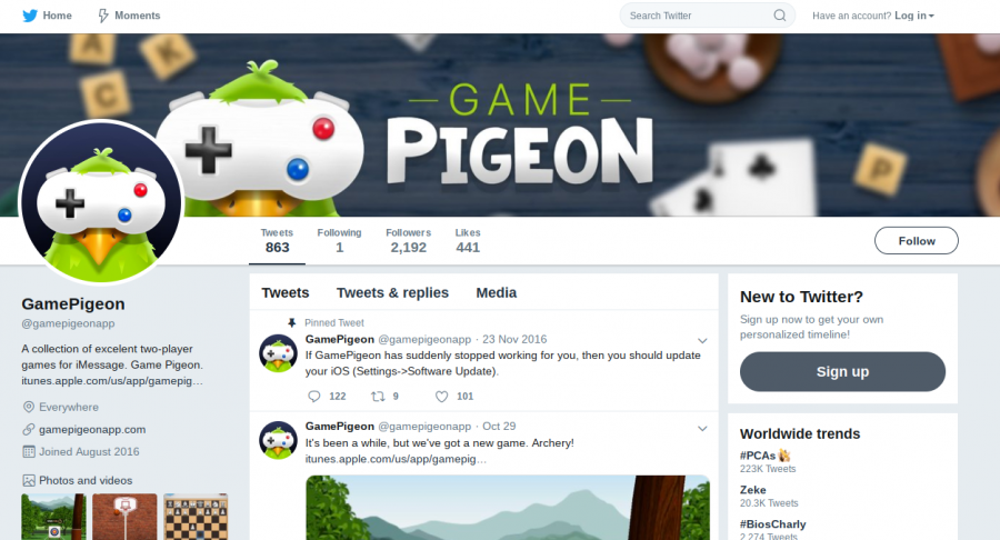 The GamePigeon app has a twitter that allows fans to see what new games are coming their way. Photo via @gamepigeonapp on Twitter