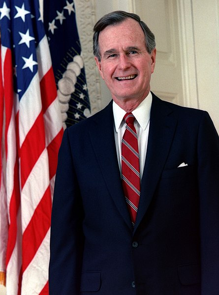 Official portrait of 41st President of the United States, George H.W. Bush.  N/A, likely POTUS [Public domain], via Wikimedia Commons