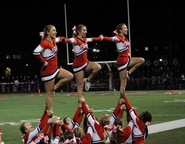 Many of the girls doing cheer have been together for many years. Photograph courtesy of Hannah Kight via Twitter.