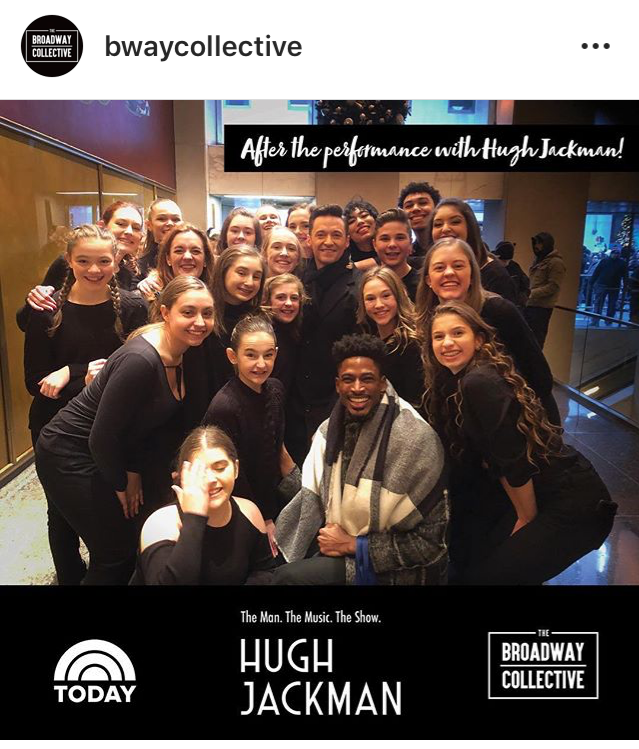 The Broadway Collective students snap a group photo with Jackman during their time in New York.  Photo courtesy of @bwaycollective on Instagram.