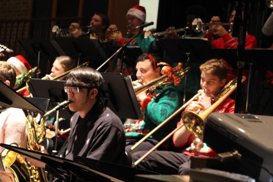 The jazz band added their own spin on the classic Rudolph the Red-Nosed Reindeer.