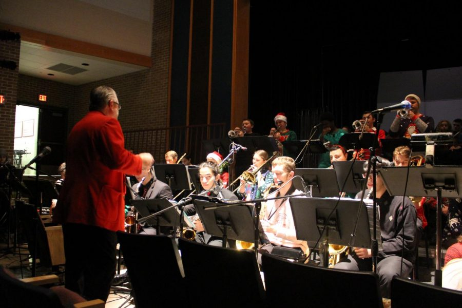"""""""The Winter Concert is actually a 'collage' performance, said Band Director Christian Poole. Each of the five groups plays one selection, then hands off the next piece to a different group.  It's allows for a blending of music styles and keeps things really moving."""""""