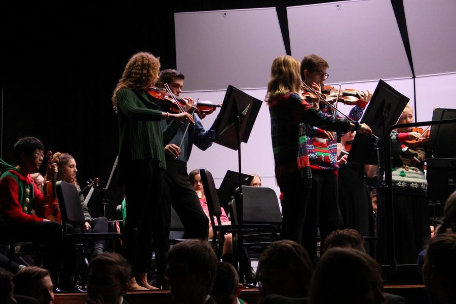 The Select Strings group of the orchestra stood to perform about ice hotels and the cold.