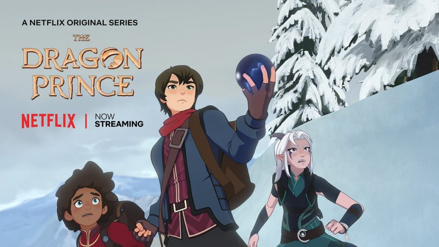The three protagonists, Rayla(right), Callum(middle), Ezran(left).
