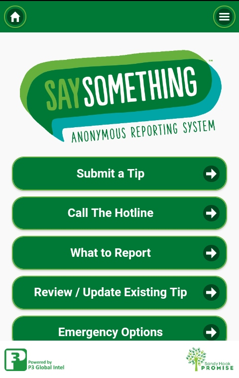 An Image of the Safe 2 Say App home sreen.