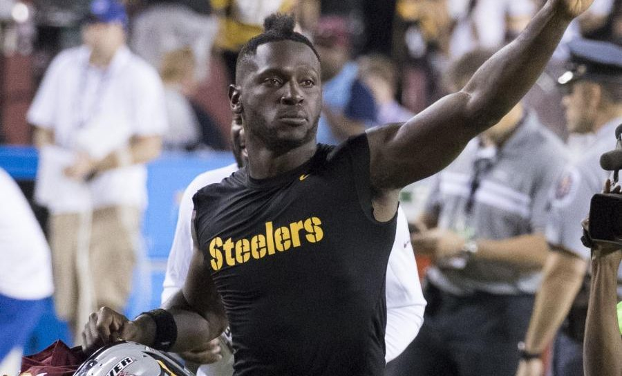 Antonio Brown waves after a football game.  Photograph by Keith Allison [CC BY-SA 2.0 (https://creativecommons.org/licenses/by-sa/2.0)]