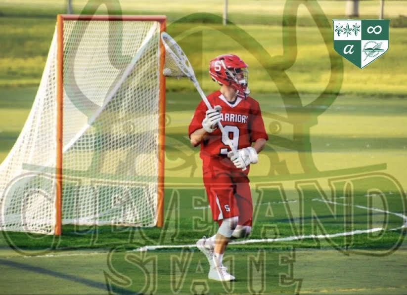 A picture of Connor Kernan playing in last years first round states game, edited with the CSU logo and