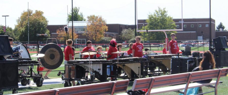The+marching+band+began+the+pep+rally+with+their+2019-2020+competition+performance.