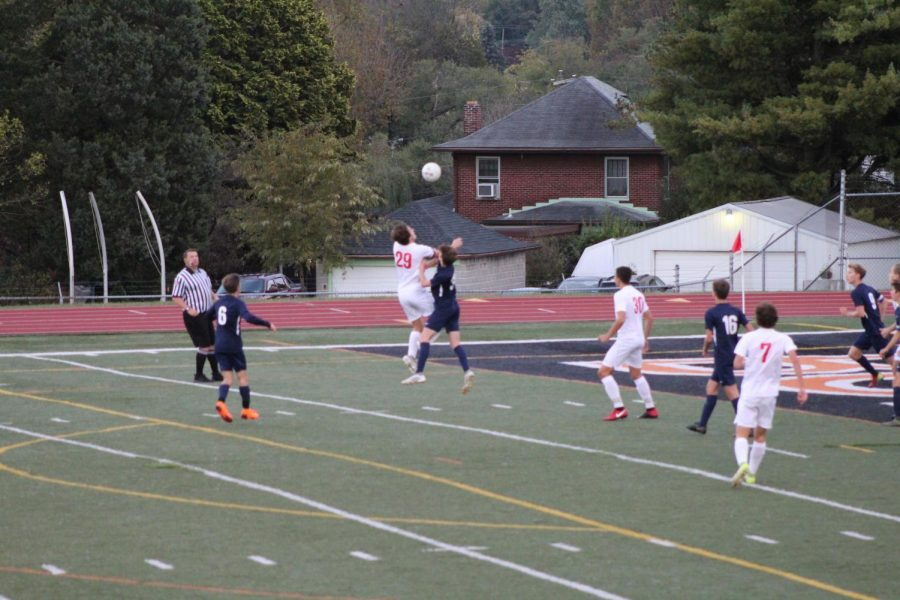 G. Murray takes the ball away from the Wildcats. After this action is done, the Warriors make an attempt at the goal which is saved, leaving the score 0-0.  Photo by Mackenzie Womack.