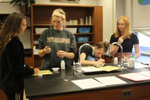 Senior Kylee Galante, senior Abby Martin, sophomore Sammy McQuaid and  sophomore AJ Marusko work in one of the labs. Photograph by Tim Hall