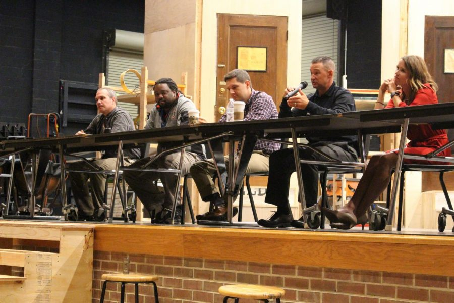 Counselor Matthew Shervington, history teacher Andy Warren, history teacher Kevin Lawrence, business teacher Kellin McCullough and athletic director Brad Keeney shared stories and answered questions about mental health and problems they have faced.