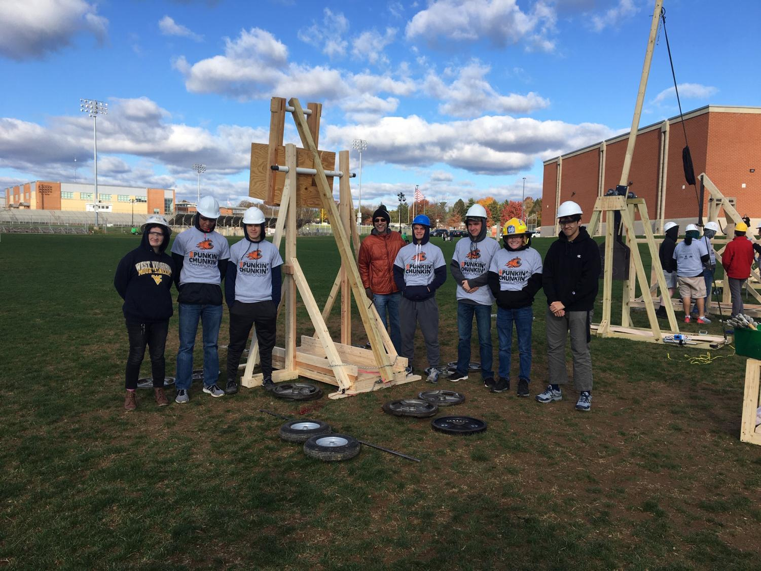 The SHS Engineering team of Eric Schwanke, Andrew Roberts, Chris Moss, Andrew Beamesderfer, Jake Eden, Ben Knepper, and Lucy Mettee traveled to West York High School on Friday to compete in the York County Punkin' Chunkin' Championship. Photograph by James Rayburn