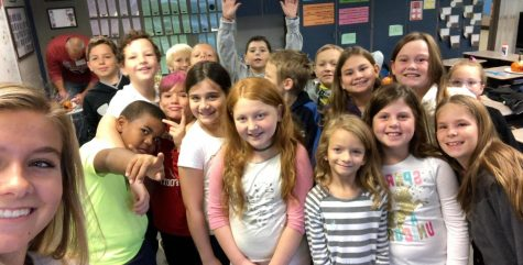 Senior Sarah Ketterman works with her fourth graders at Southern Elementary school.  Photograph Courtesy of Sarah Ketterman