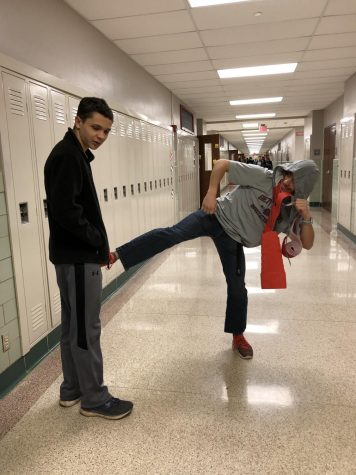 Courier reporters mimic issues in the hallway that may annoy students and faculty. Photograph by Sam Timlin