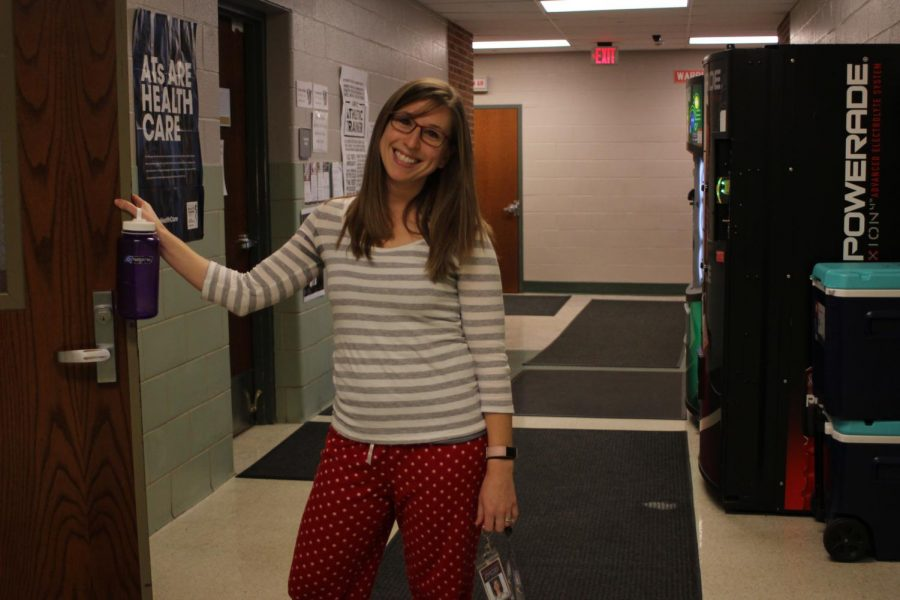Physical education and math teacher Abigail Grove supports Aevidum by participating in Pajama Day. The Aevidum club at the high school hosted a spirit week Dec. 17-23. Each day had a different theme. Photograph by Evelyn Weldon.
