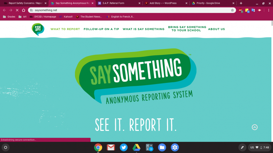 This is the homepage to the Say Something website. In order to get to the form to fill out, you'll have to scroll down a bit.