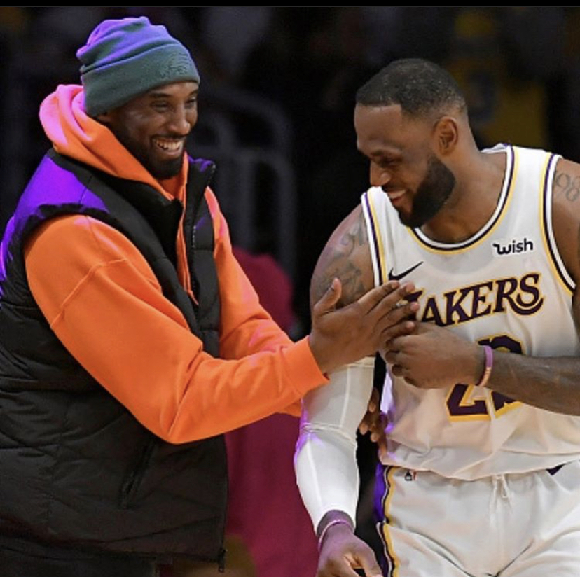 The night before Kobe passed away he was at the Staples Center to watch LeBron James pass him on the all-time scoring list. Bryant later posted about LeBron talking about how much he admired his game.  Photo via @KingJames on Twitter