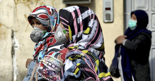 Women in the Middle East walk around wearing masks to prevent catching the virus. Screenshot courtesy of: @AP via twitter