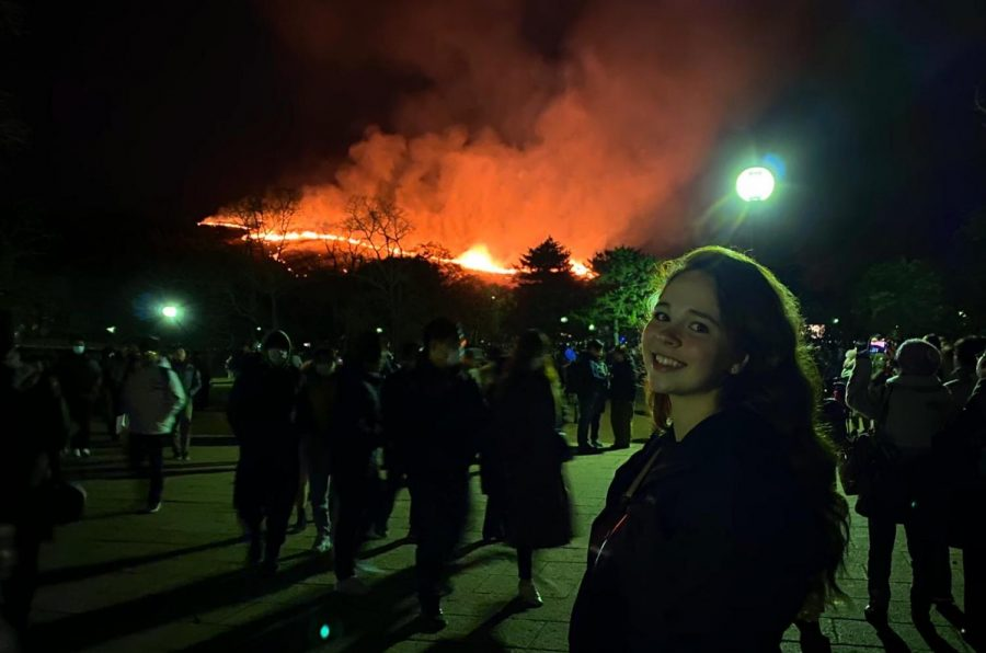 McCullough enjoys a fire festival in Nara, Japan. Photograph by Kelsey McCullough