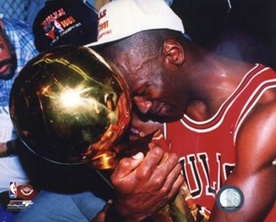 Michael+Jordan+cherishes+the+Larry+O%27Brian+Trophy+after+he+won+his+first+NBA+Finals+in+1991+after+beating+the+Los+Angeles+Lakers.+%0A%0APhotograph+by+%40paveibure24+via+Twitter
