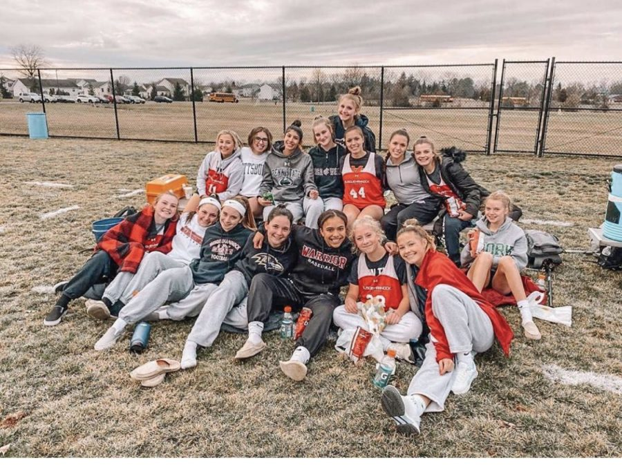 Varsity+Girls+lacrosse+at+their+first+scrimmage+before+their+season+came+to+an+end.%0APhotographed+by+Coach+K