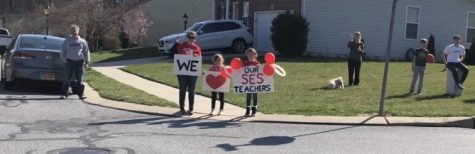 Southern Elementary Students stood at the end of neighborhoods and driveways with posters thanking teachers for putting together the teacher parade. Photograph by Mackenzie Womack