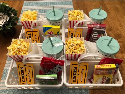 A snack tray is set up for the perfect family movie night. Photograph  by Pixiedust_creations_js