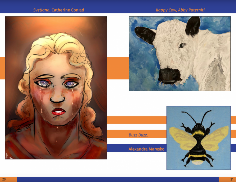 Students submitted artwork to be showcased in the Literary Magazine. Screenshot via Issuu