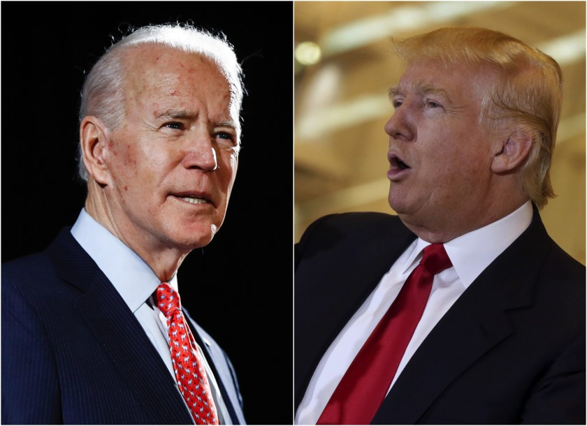 Presumptive+Democratic+presidential+nominee+Joe+Biden+and+President+Donald+Trump+face+off.+Image+Courtesy+of+%40latimes+via+Twitter