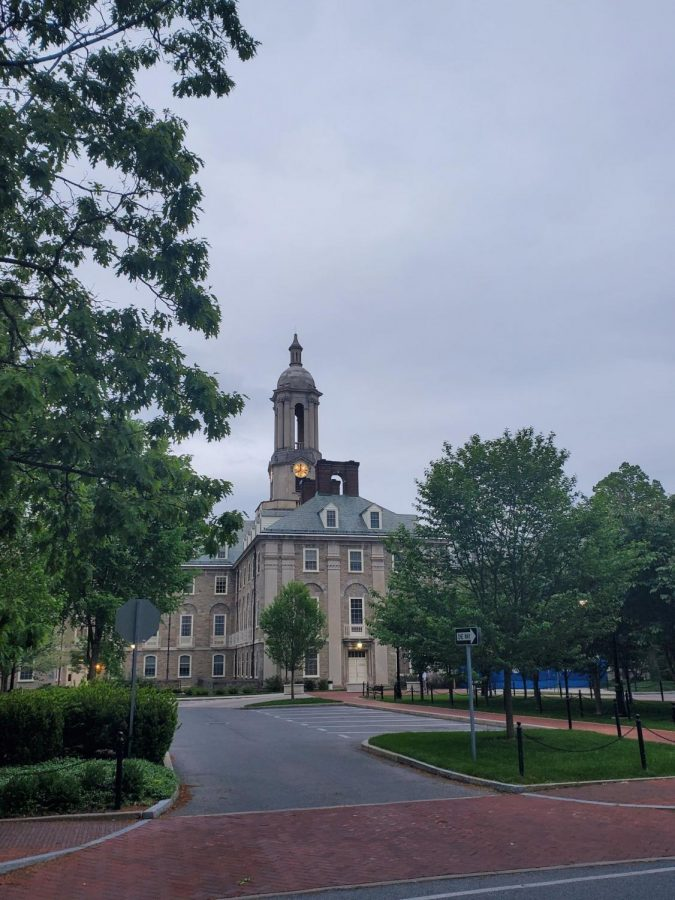 A view of the now empty campus of Penn State. Photo Via twitter @tylerjoelb