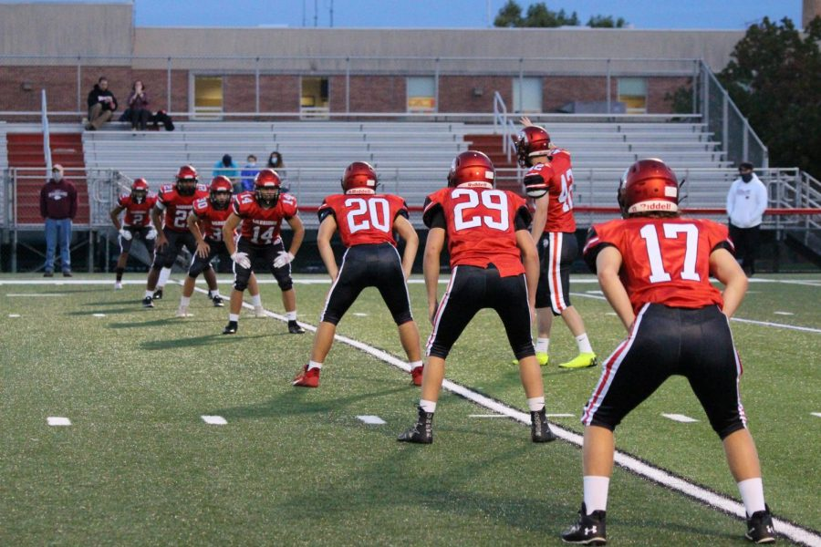 The Susquehannock team gets ready to kick-off. This was the home opener for the 2020 season for Susquehannock. Photograph by KC O'Neil.